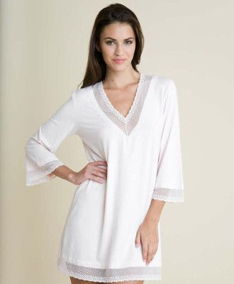 Sometimes you want to feel comfy and cuddly, but don't you ALWAYS want to feel gorgeous and irresistible? Meet the Eberjey Gisele Tunic, the buttery soft tunic dress that you cannot wait to slip into. This Eberjey Tunic is embellished with sheer lace detail around the neck, arms, and bottom of the tunic.  Off White Summer Dress Loungewear 3/4 length sleeves  #loungewear #whitetunic #tunicdress