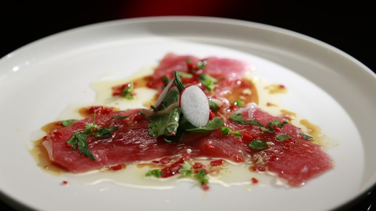 Harry and Christo's Tuna Carpaccio with a Citrus and Soy Dressing: http://gustotv.com/recipes/dinner/tuna-carpaccio/
