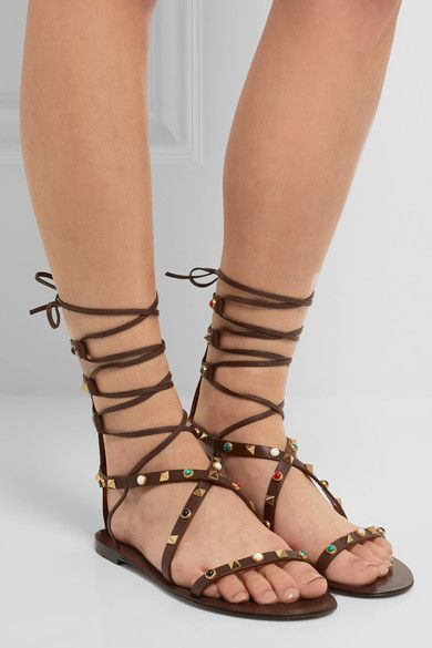 Valentino - Rockstud Embellished Leather Sandals - Chocolate - IT38.5