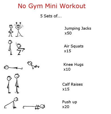 No gym mini workout.  Read this whole post though - lots of good inspirational quotes, etc.