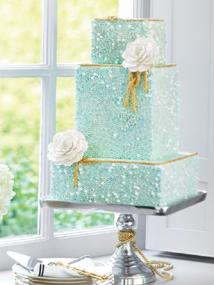 Turquoise wedding cake with gold rope edges, perfect for a beach wedding. [Dominion Valley Country Club] www.DominionValleyCountryClub.com