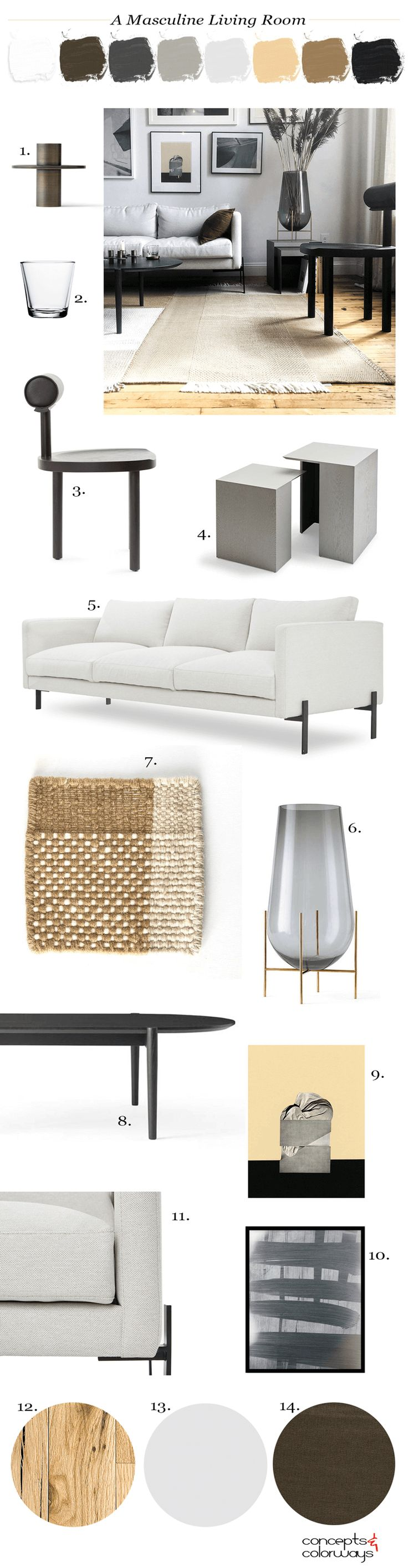 masculine living room, masculine style, trnk furniture, large glass vase, framed wall art, gray walls, masculine furniture, contemporary living room, contemporary furniture, modern furniture, modern white sofa, modern black dining chairs, modern dining chairs, modern side chair, rustic oak flooring, bronze pillows, black coffee table, dhurrie rugs, woven rug, light gray, black and white, ochre, honey oak, dark gray, bronze color
