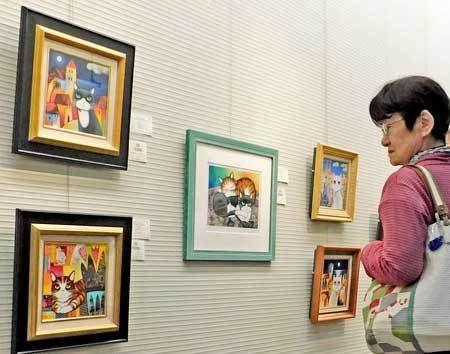 夢二や藤田ら描くネコ、ネコ… 京都でチャリティー美術展