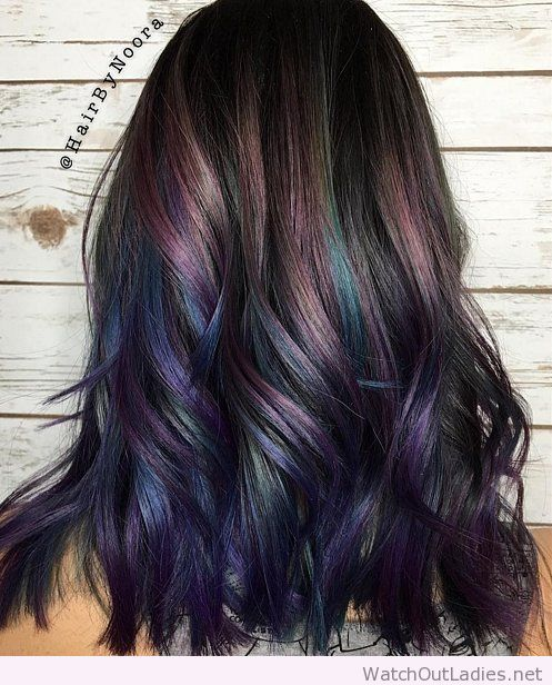 Rainbow hair color in dark natural hair More