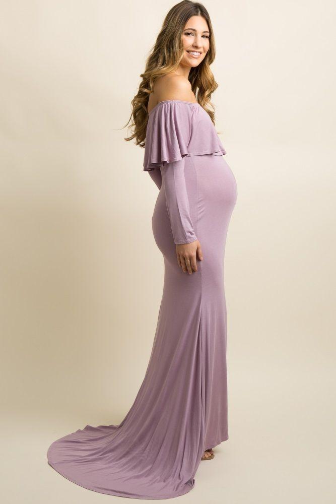 7c5155d1de2a Lavender Ruffle Off Shoulder Mermaid Maternity Photoshoot Gown Dress ...