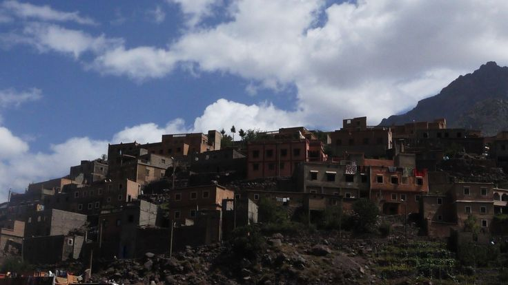 The stunning village of Aremd in the Atlas Mountains.  Just one of the stops on my latest adventure climbing Mount Toubkal - the highest mountain in North Africa - one massive adrenalin drive! Find out how: http://office-breaks.com/climbing-mount-toubkal-atlas-mountain-challenge/