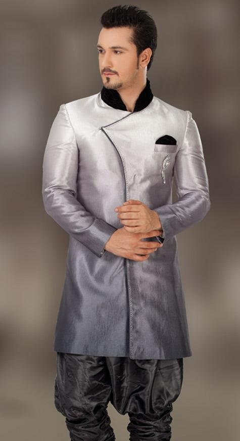 Off #White and Grey Imported Fabric Readymade Indo Western Suit @ $277.38