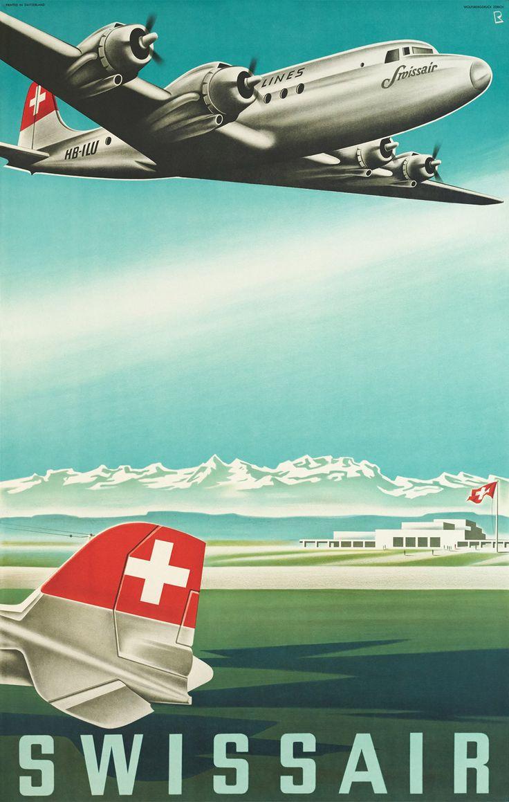 Original Vintage Swissair Poster Designs from Galerie123