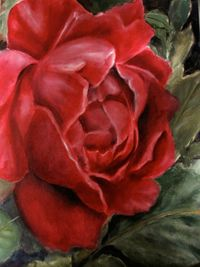 """Red Rose   I picked this shot out of my garden. A compact rose with many layers that has lasted for years. The oil painting uses glazes and has many layers just like the flower. """"Red Rose"""" is available for sale at http://www.fontainefineart.com/redrose.shtmll"""