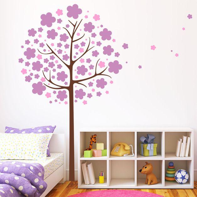 Wandtattoo Blumen Baum dreifarbig Wandsticker