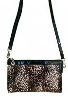 Beaufoy-- Black Patent Leather Purse/Wallet with Leopard Print