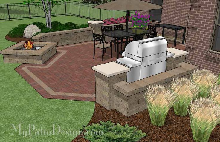 Brick Patio Designs with Grill