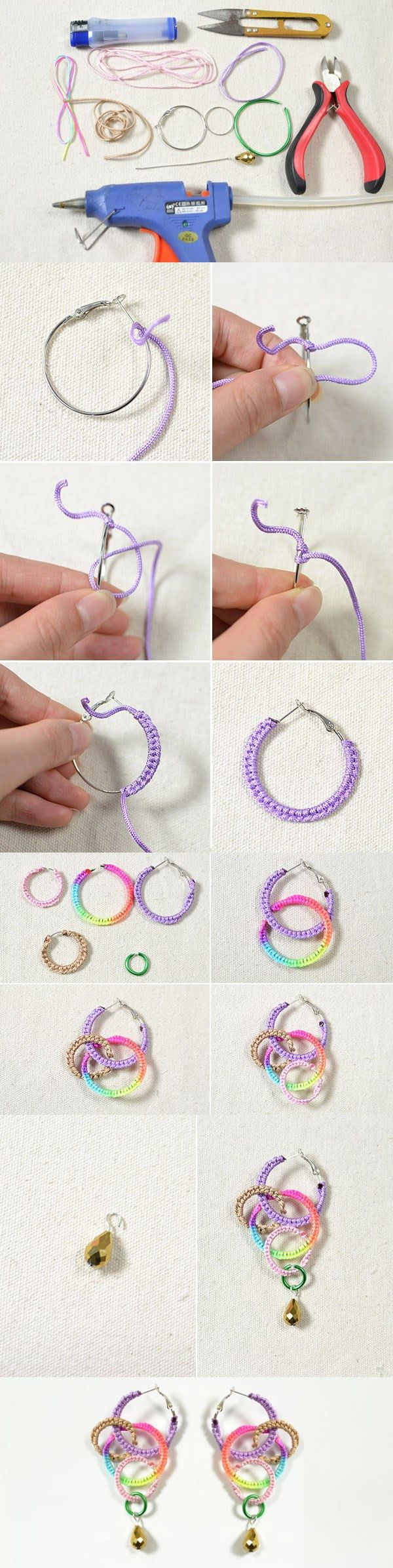 How to Make a Pair of Colorful Woven Thread Earrings in an Easy Way from LC.Pandahall.com