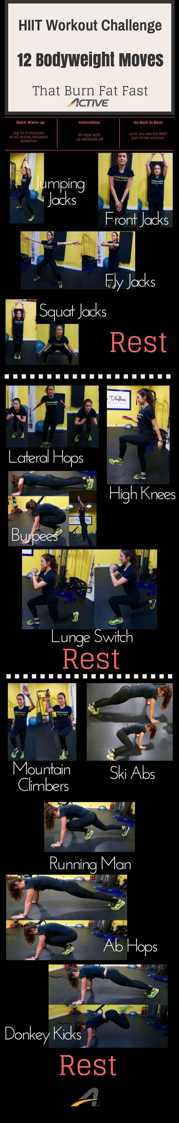 HIIT Workout Challenge: 12 Bodyweight Moves That Burn Fat Fast :)
