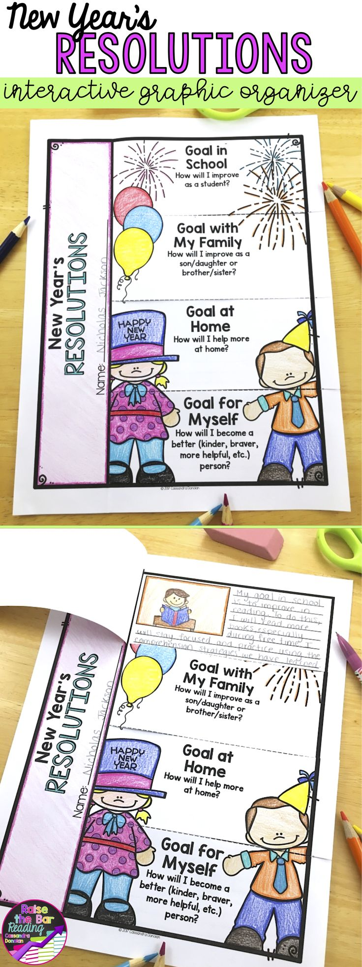 New Years Goal Setting! Part of a huge pack of winter activities.  These new years resolution activities are sure to keep your students engaged! Teaching new years | No Prep Winter Activities | Winter activities for Kids | Winter Printables | New Years Printables | New years Worksheets | Winter Worksheets