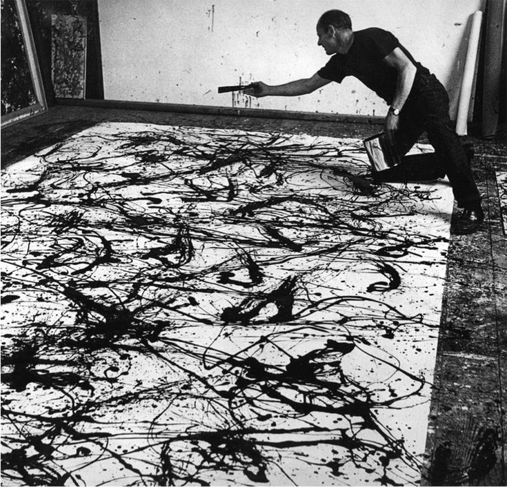 Jackson Pollock. I love this artist because he paints with emotion instead of just illustrating