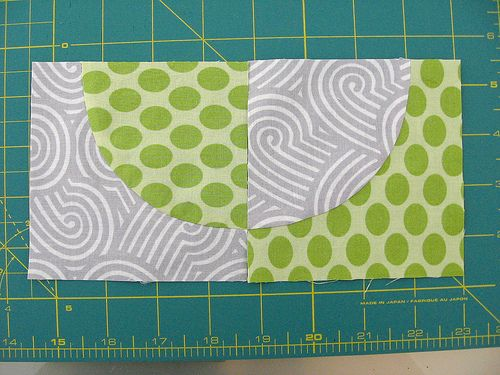 great tutorial- for making drunkard's path blocks, sewing curves w/o pins  squaring up to align circle