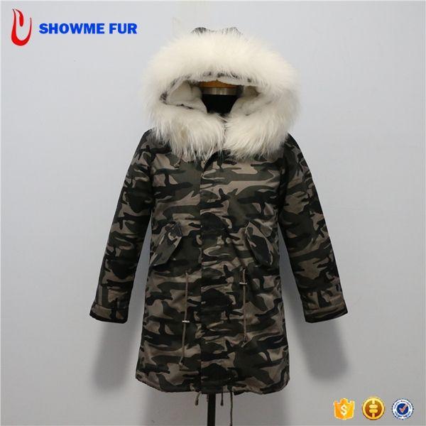 Wholesale Camo Fabric Long Mens Down Fur Parka Coats