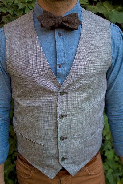 Wimbledon Bow Tie - Marbella Modern Boys Club - Made  in USA - Self Tie - Tweed. Vest. Denim. Engagement. Barber. Bartender. Wedding. Gift Idea for Guys. Modern Neckwear. Men's Accessories. Men's Fashion. Great Way to Wear a Casual Bow Tie! Dapper Man. Gentleman.