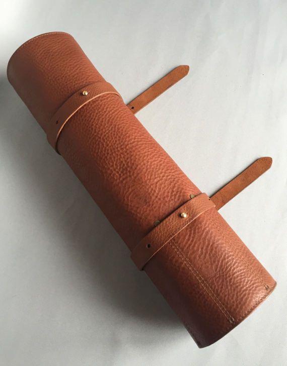 Veg Premium tan rollo cuchillo de cuero marrón funda de