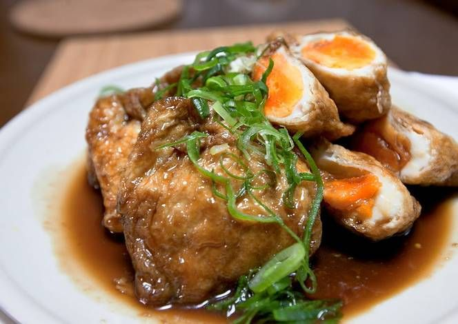 Braised Aburaage 'Kinchaku' Pouches Stuffed with Eggs Recipe -  Very Tasty Food. Let's make it!