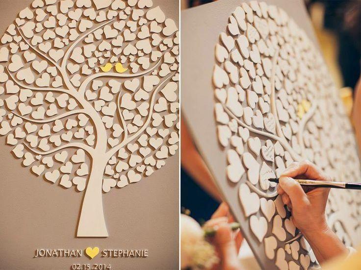 Custom Wedding Guest Book Alternative - 3D Wedding Tree Guest Book - Wood Rustic Wedding Guest Book - Tree Of Hearts - CUTIE POP 110 Hearts