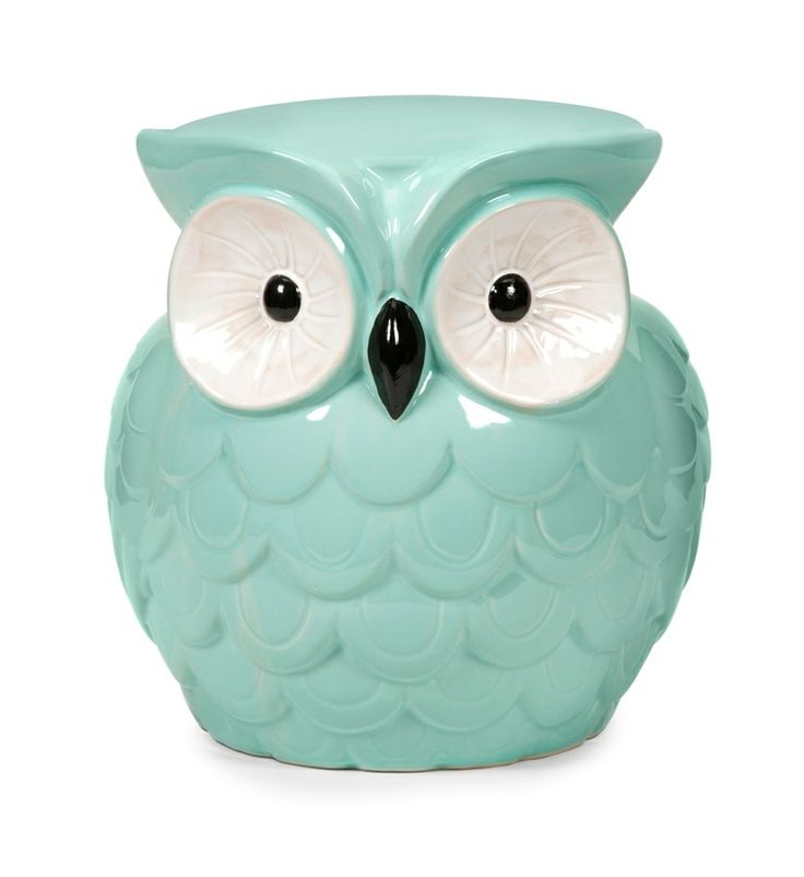 Owl Stuff For The Home Part - 35: Home Decor: Unique Home Decor - Whimsical Hoot Owl Aqua Ceramic Garden Stool