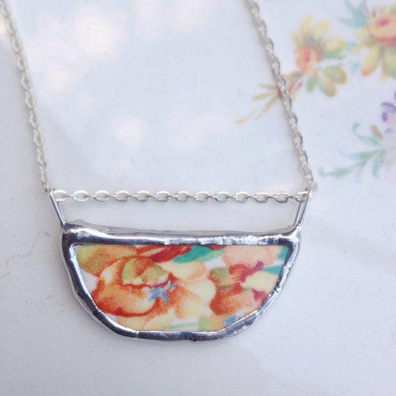 Vintage Orange Floral Ceramic Necklace by asthecrowfliesandco