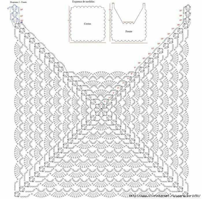 1477 best Blusas tejidas images on Pinterest | Crochet tops, Crochet ...