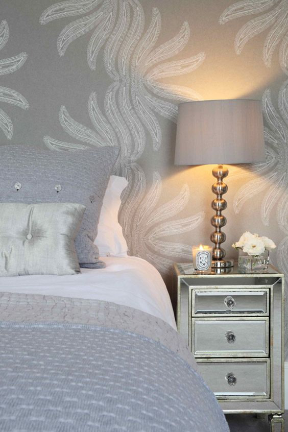 soft grey bedroom like the night stand