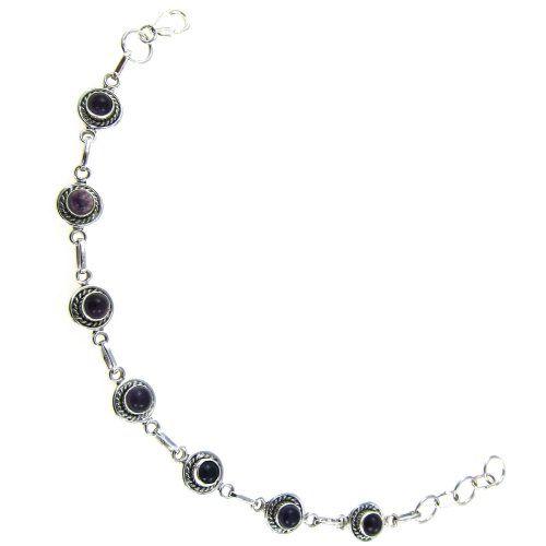 Silver, Amethyst, Handmade Link Bracelet 7.5 inches, Purple Clouds, 10 grams ShalinIndia,http://www.amazon.com/dp/B005KH13KY/ref=cm_sw_r_pi_dp_9ZIysb1GJMC1PZNH