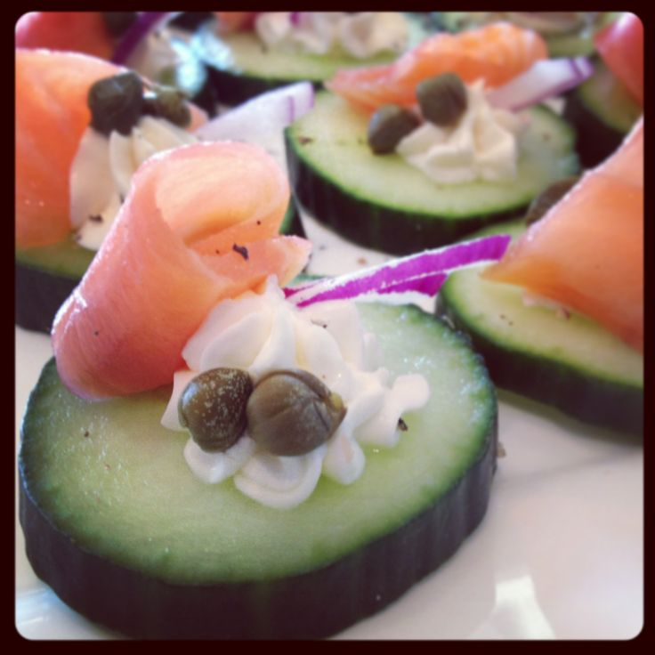 Smoked Salmon Hors d'oeuvre [Cucumber, Cream Cheese, Capers, Spanish Onion & Smoked Salmon]   Recent Catering Creations   Pinterest   Smoked salmon, Cucumber a…