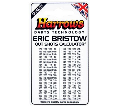 Eric Bristow Out Shots Chart - This easy to carry card provides a quick reference out chart for steel tip darts. It's printed on both sides.