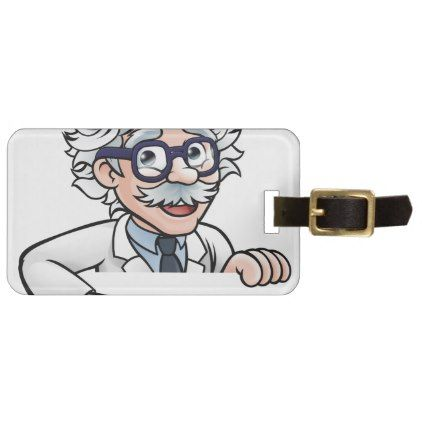 #Scientist Cartoon Character Pointing Down Luggage Tag - #luggage #tags