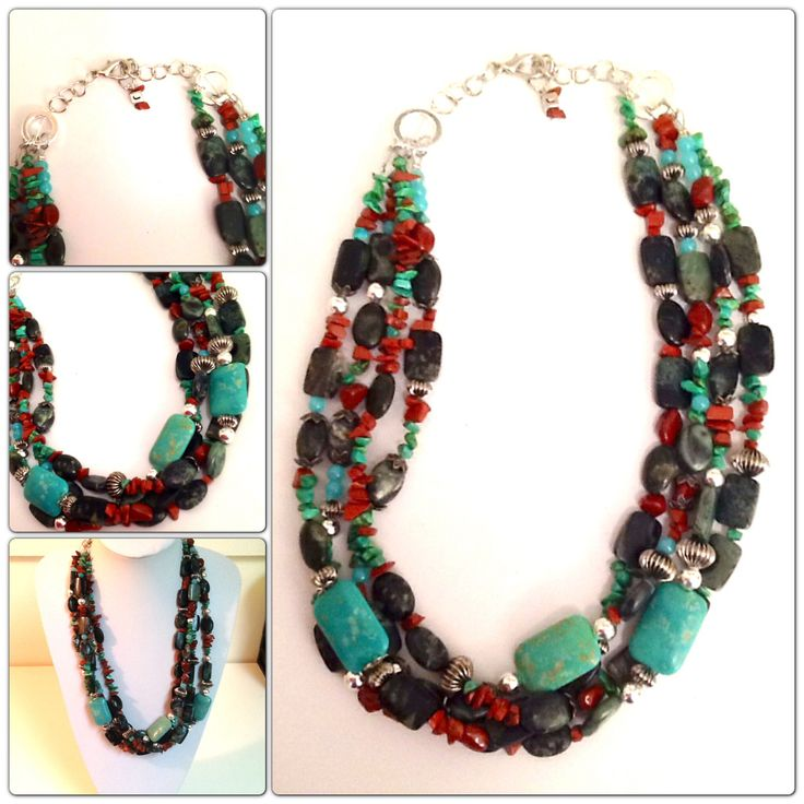 #Custom #handmade #Jasper #turquoise #Howlite #redjasper #statement #necklace