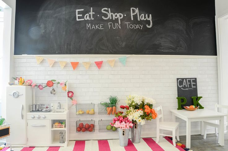 Love this little kiddos kitchen, cafe, farmers market/flower shop from Iron and Twine