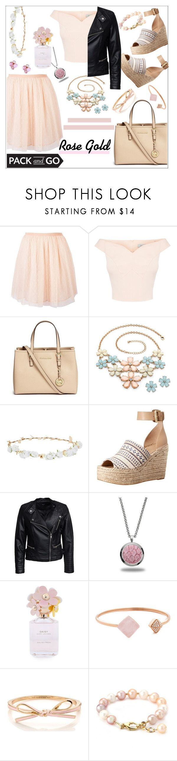"""""""Pack and Go: Labor Day-Rose Gold outfit"""" by elusiin ❤ liked on Polyvore featuring RED Valentino, Michael Kors, Design Lab, Marc Fisher LTD, Sisters Point, Marlin Birna, Marc Jacobs and Ted Baker"""