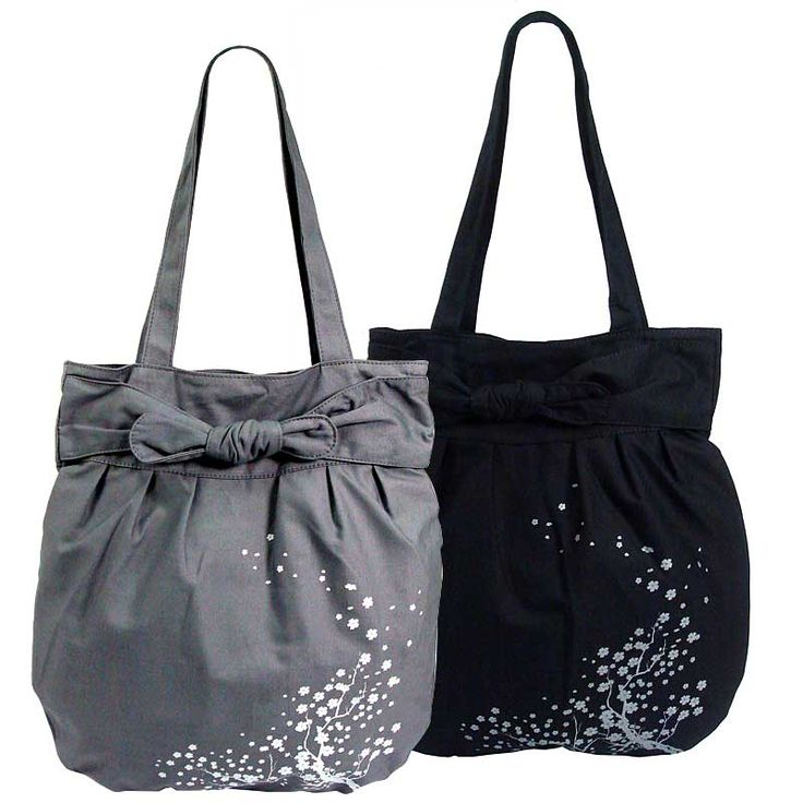 Canvas tote with bow fastening and Cherry Blossom print