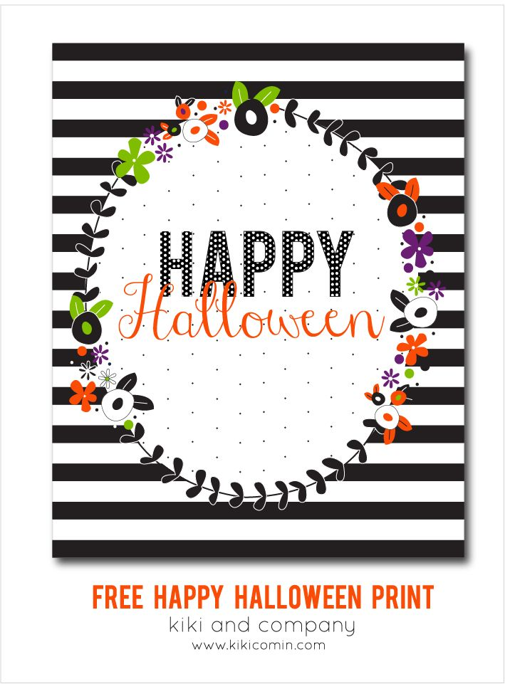 Free Happy Halloween Printable from Kiki and Company