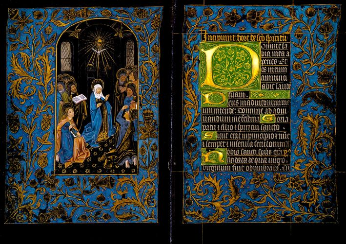 """""""Black Hours"""" in the Pierpont Morgan Library - Manuscripts completely immersed in black tint and written upon in gold and silver script evidently occurred extremely rarely in the history of illumination - only seven examples have come down to us.."""