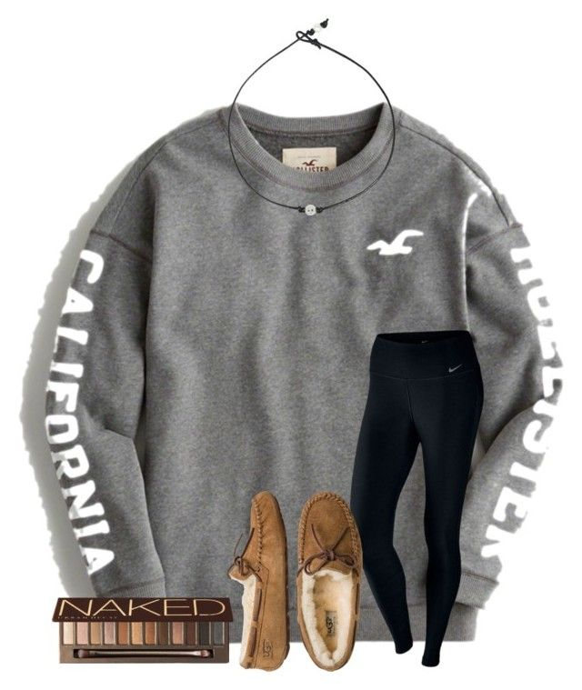 """""""any questions you guys have about me??"""" by samanthars on Polyvore featuring Hollister Co., NIKE, UGG Australia and Urban Decay"""