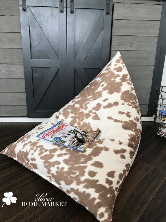 Cowhide Bean Bag Envelope Style Unique Pillow Lounger Chair Large Pouf Floor Cushions Floorpillowcover Bohemia Bean Bag Covers Unique Pillows Pillow Lounger