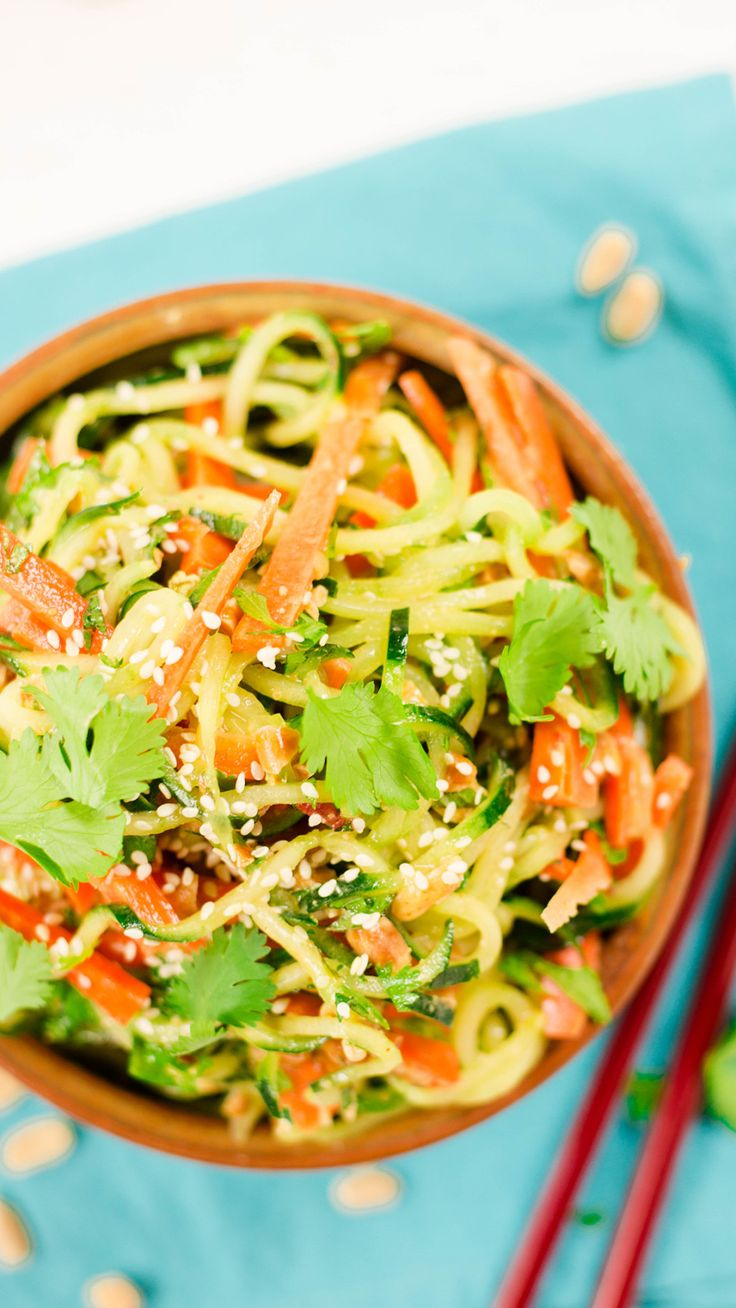 How to make a thai-inspired salad using zucchini and carrots.