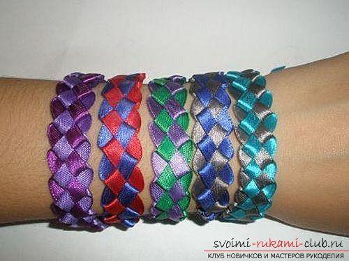 Плетем браслеты из лент своими руками.