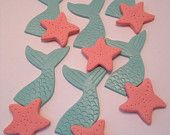 Mermaid and Starfish Cupcake Toppers - Fondant