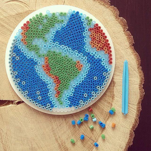 The Earth hama perler beads by tamatek