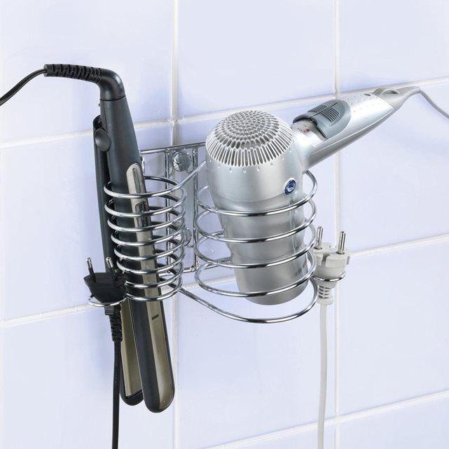 Support acier chrom pour s che cheveux et fer lisser for La redoute tapis salle de bain
