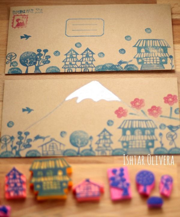 Never thought of carving my own stamps.  Could be fun for boys with the right images.  Japanese inspired stamps ishtar olivera
