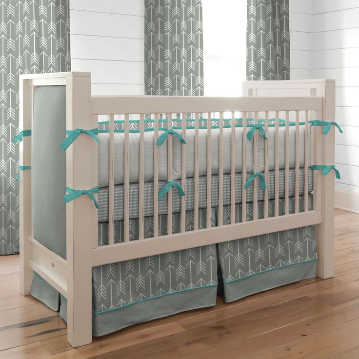 gray and teal arrow crib bedding neutral baby bedding carousel designs