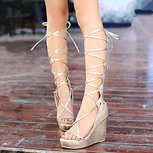 Marque gladiateurs de la mode des sandales en cuir véritable chaussures lace up platform wedges femmes sandales or argent parti de bal chaussures dans Sandales pour femmes de Chaussures sur AliExpress.com | Alibaba Group